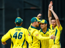 Jhye Richardson celebrates a wicket with his team-mates, Australia v Pakistan, 5th match, T20I Tri-series, July 5, 2018