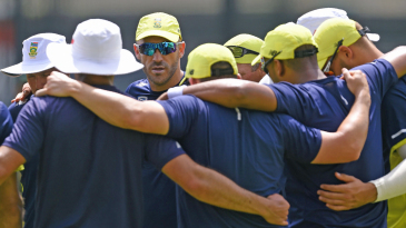 Faf du Plessis leads a team huddle in Colombo