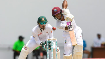 Shai Hope drives down the ground