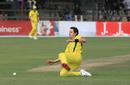 Jack Wildermuth slides while trying to field a ball, Australia v Zimbabwe, Zimbabwe tri-series, Harare, July 6, 2018