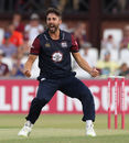 Ben Sanderson of Northamptonshire celebrates after bowling Riki Wessels during the Vitality Blast match between Northamptonshire Steelbacks and Nottinghamshire Outlaws at The County Ground on July 6, 2018