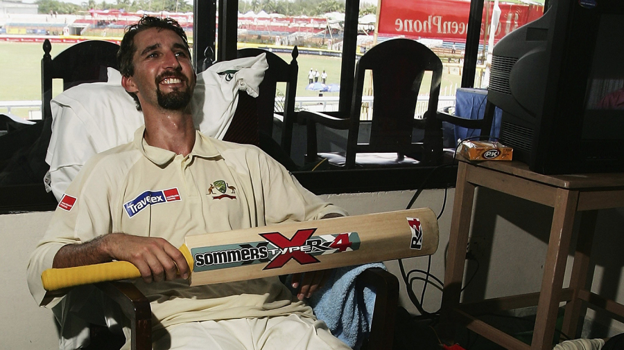 Jason Gillespie relaxes in the dressing room after scoring his double-century