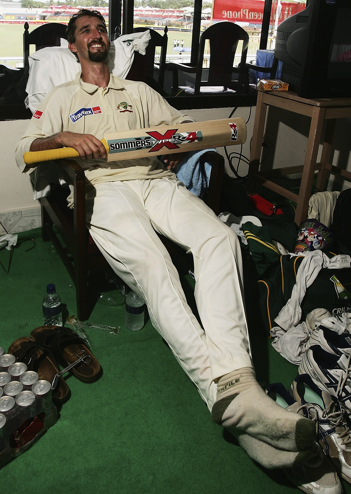 Jason Gillespie relaxes after playing one of the most memorable innings by a nighwatchman ever