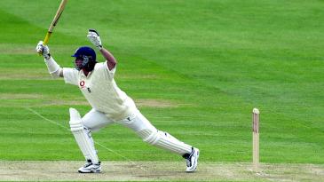 England nightwatchman Ryan Sidebottom leaves the ball