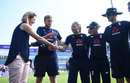 Katie George receives her maiden ODI cap from Charlotte Edwards, England v New Zealand, 1st ODI, Headingley