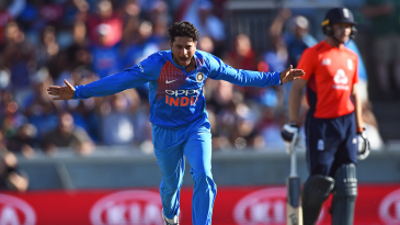At Old Trafford, Kuldeep Yadav took three wickets in an over, including getting Jonny Bairstow and Joe Root stumped off consecutive balls
