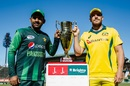 Sarfraz Ahmed and Aaron Finch pose with the trophy ahead of the final, Australia v Pakistan, Zimbabwe tri-series final, Harare, July 8, 2018