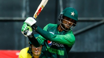 Fakhar Zaman drags a pull past the bowler