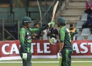 Shoaib Malik and Fakhar Zaman celebrate the latter's half-century, Australia v Pakistan, Zimbabwe tri-series final, Harare, July 8, 2018