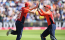 Jake Ball and Jos Buttler exchange high-fives, England v India, 3rd T20I, Final, Bristol, July 8, 2018
