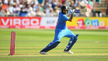 Rohit Sharma plays one off the back foot
