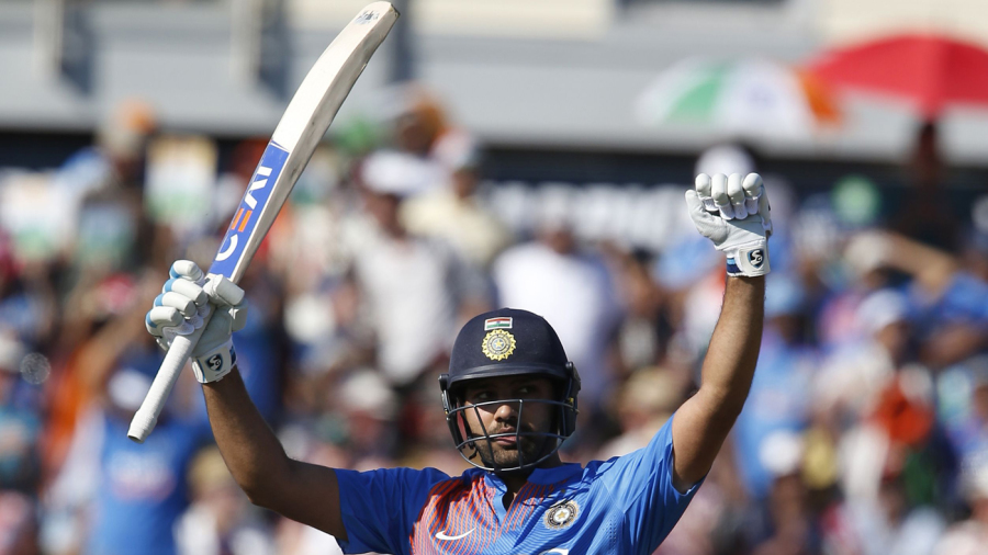 Rohit Sharma celebrates his century