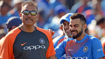 Virat Kohli and Ravi Shastri share a laugh