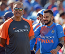 Virat Kohli and Ravi Shastri share a laugh, England v India, 3rd T20I, Final, Bristol, July 8, 2018