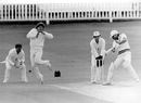 Allan Lamb takes evasive action as Kapil Dev cuts, England v India, first Test, Lord's, day five, June 10, 1986