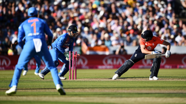 Witch way will it turn: Jonny Bairstow is put under a spell by Kuldeep Yadav