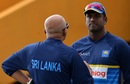 Sri Lanka coach Chandika Hathurusingha speaks to Angelo Mathews during a training session, Sri Lanka v South Africa, 1st Test, Galle, July 11, 2018