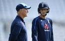 Joe Root  talks to Graham Thorpe ahead of a training session, Nottingham, July 11, 2018