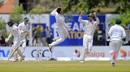 Tabraiz Shamsi celebrates the wicket of Dhananjaya de Silva, Sri Lanka v South Africa, 1st Test, Galle, 1st day, July 12, 2018