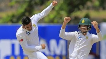 Tabraiz Shamsi jumps in joy after taking a wicket