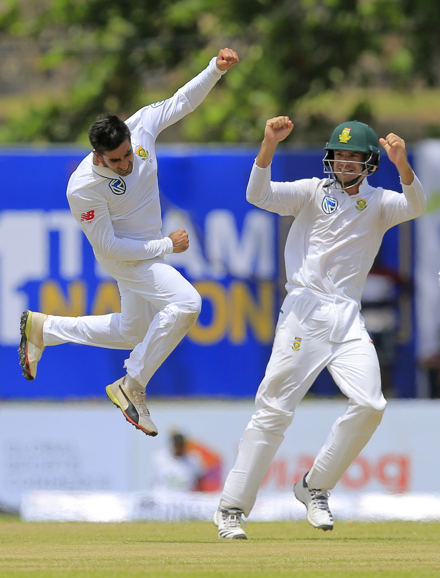 Tabraiz Shamsi celebrates a wicket in Galle in 2018 - his second Test, which came two years after his first
