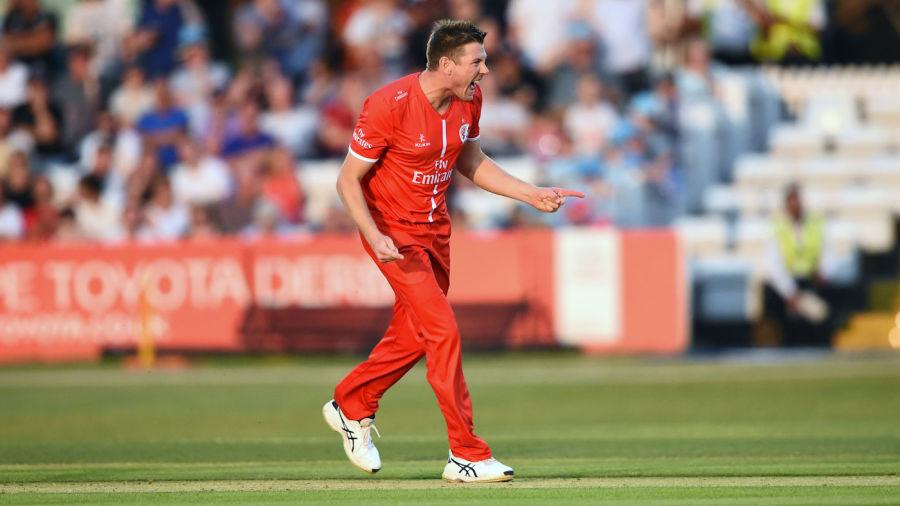James Faulkner celebrates a Lancashire wicket