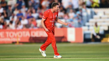 James Faulkner celebrates a Lancashire wicket