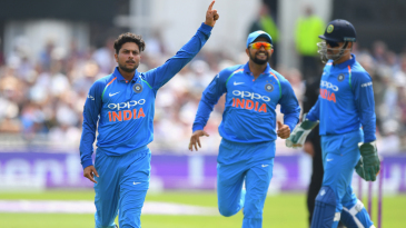 Kuldeep Yadav celebrates a wicket