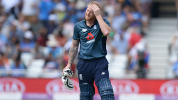 Ben Stokes takes a break between overs