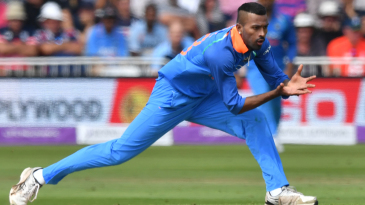 Hardik Pandya fields off his own bowling