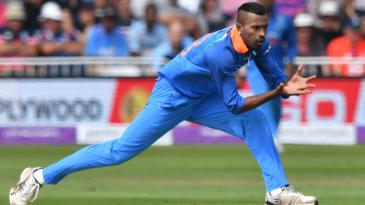Hardik Pandya fields off his own bowling