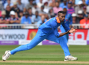 Hardik Pandya fields off his own bowling, England v India, 1st ODI, Nottingham, July 12, 2018