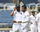 Shakib Al Hasan and Tamim Iqbal have chat in the morning session, West Indies v Bangladesh, 2nd Test, Jamaica, 1st day, July 12, 2018