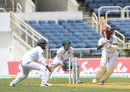 Kraigg Brathwaite drills a boundary through midwicket, West Indies v Bangladesh, 2nd Test, Kingston, 1st day, July 12, 2018