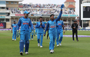 Kuldeep Yadav leads the Indian team off after his six-for, England v India, 1st ODI, Nottingham, July 12, 2018