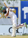 Hashim Amla holds his shape after bunting one away, Sri Lanka v South Africa, 1st Test, Galle, 2nd day, July 13, 2018