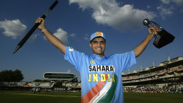 Sourav Ganguly holds aloft the trophy