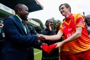 Liam Roche receives his maiden ODI cap from Prosper Utseya, Zimbabwe v Pakistan, 1st ODI, Bulawayo, July 13, 2018