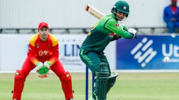 Fakhar Zaman prepares to belt the ball