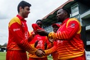 Ryan Murray receives his maiden ODI cap from Hamilton Masakadza, Zimbabwe v Pakistan, 1st ODI, Bulawayo, July 13, 2018