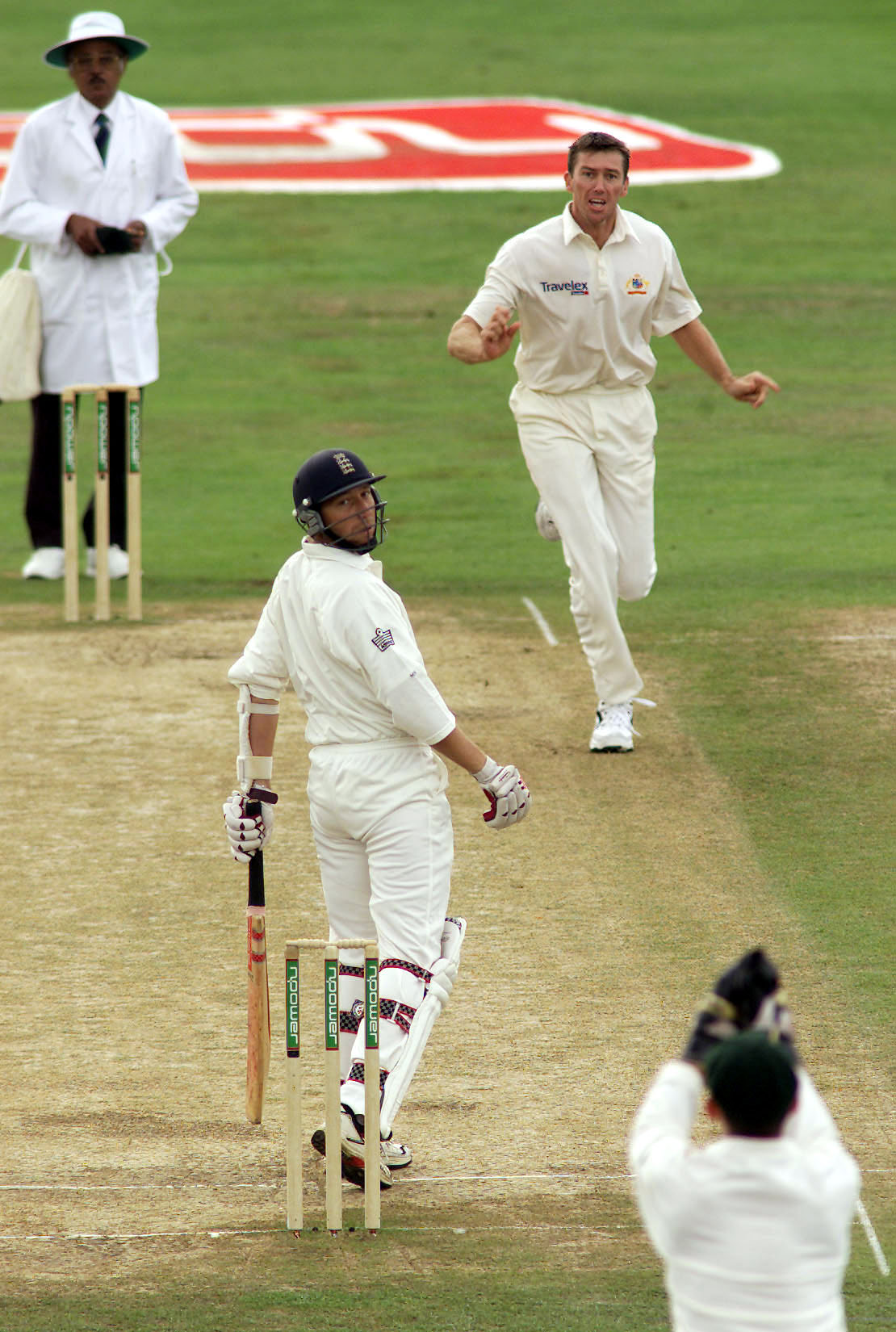 No. 18: McGrath gets Atherton c Gilchrist, the second of two identical dismissals in the 2001 Headingley Test