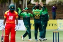 Usman Khan celebrates a wicket, Zimbabwe v Pakistan, 1st ODI, Bulawayo, July 13, 2018