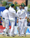 Keshav Maharaj celebrates a wicket with his team-mates, Sri Lanka v South Africa, 1st Test, Galle, 3rd day, July 14, 2018