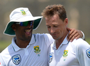 Dale Steyn gets a congratulatory embrace from Vernon Philander upon becoming South Africa's joint leading wicket-taker, Sri Lanka v South Africa, 1st Test, Galle, 3rd day, July 14, 2018