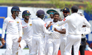 Rangana Herath is congratulated by his team-mates, Sri Lanka v South Africa, 1st Test, Galle, 3rd day, July 14, 2018