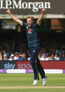 David Willey celebrates removing Shikhar Dhawan, England v India, 2nd ODI, Lord's, July 14, 2018