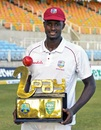 Jason Holder poses with the trophy after the series win, West Indies v Bangladesh, 2nd Test, Jamaica, 3rd day, July 14, 2018