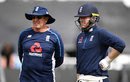 Trevor Bayliss and Eoin Morgan at training ahead of the third ODI, England Lions v India A, Worcester, July 16, 2018