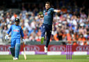 Mark Wood leaps in joy as he nicked off Hardik Pandya, England v India, 3rd ODI, Headingley, July 17, 2018