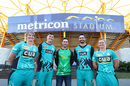 WBBL and BBL players (L-R) Sammy-Jo Johnson, Matthew Renshaw, Glenn Maxwell, Ben Cutting, and Jess Jonassen pose during the Big Bash League fixture announcement, Gold Coast, July 18, 2018